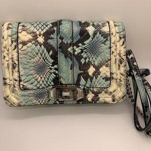 Rebecca Minkoff Small Love Blue Snake Embossed Leather Crossbody Bag